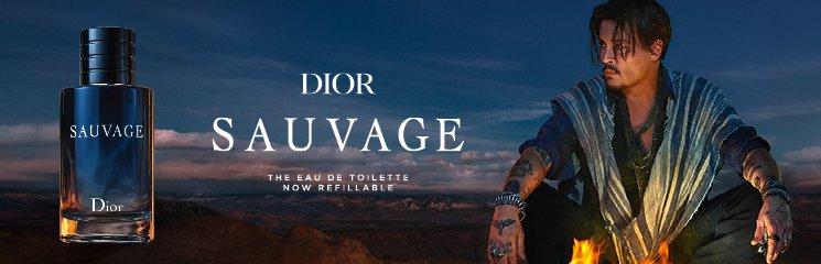 Johnny Depp und Dior Sauvage Parfum Flakon
