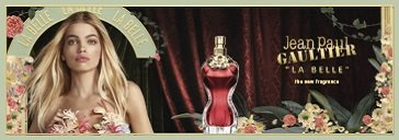 Frau mit Blüten und Flakon von Jean Paul Gaultier Classique